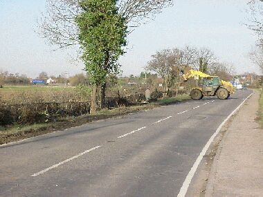 Completed hedge.  The JCB is uprooting elder stumps